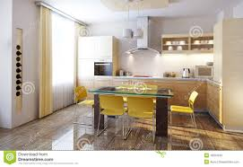 contemporary kitchen interiors modern kitchen interior 3d render stock photos image 18207843