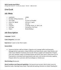 cook duties resume job