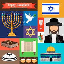 happy hanukkah signs and judaism icons israel and rabbi synagogue and