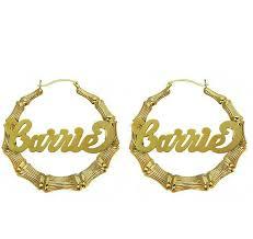 hoop earrings with name 10k gold bamboo name hoop earrings be monogrammed