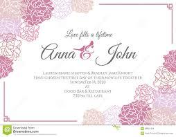 wedding card pink rose floral frame vector template design stock