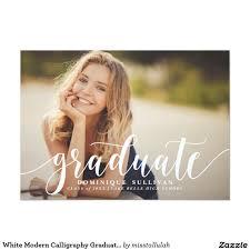 white modern calligraphy graduation announcement graduation