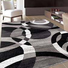 Modern Black Rugs Contemporary Modern Circles Grey Area Rug Abstract 7 10 X 10 2