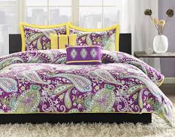 Teenage Duvet Sets Purple Green Yellow Paisley Print Teen Bedding Twin Xl Full