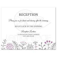 modern wedding reception card with purple flower and nature border