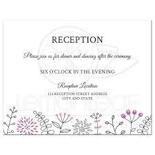 wedding reception invites modern wedding reception card with purple flower and nature border