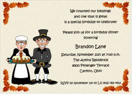 birthday blessings thanksgiving theme invitation