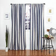 Blue And White Window Curtains Amazon Com Homier Navy Blue Striped Linen Blend Window Curtain