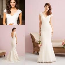 online shop elegant v neck open low back wedding dresses cap