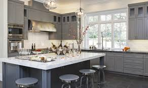 glass hanging pendant lights over island for gray color kitchen