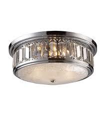 chrome flush mount light elk 11227 3 signature 3 light 16 inch polished chrome flush mount