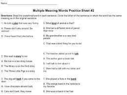 multiple meaning words worksheets 3rd grade multiple meaning
