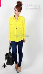 neon blouse 2018 haris chiffon sleeve shirt in neon yellow and cobalt