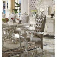 Dining Room Arm Chairs Acme United Formal Versailles Bone White 9pc Set Royal Antique