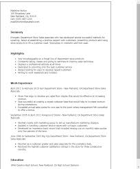 Sample Resume Of Sales Associate by Professional Department Store Sales Associate Templates To