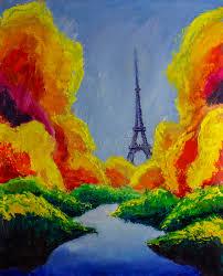 paint dream original oil painting of eiffel tower paris dream autumn green