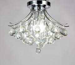 Crystal Flush Mount Ceiling Light Fixture by Diamond Life Modern Style 3 Light Chrome Finish Crystal Chandelier