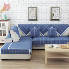 canapé style europe style blue plaid polyester cotton sofa cover lace decor