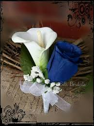 Royal Blue Boutonniere Royal Blue White Calla Rose Boutonniere Groom Groomsman Father