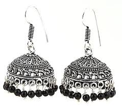 metal earings aelo fancy black beaded traditonal german silver black metal