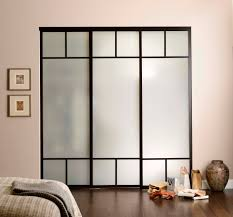 opaque glass wardrobe sliding doors with black wooden frame and