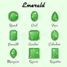 types of green color types of cuts of emerald stock vector illustration of luxury