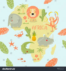 Africa On The Map by Vector Illustration Map Africa On Lion Stock Vector 371207189