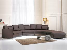 curved sectional sofa brown leather rotunde