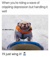 Depressed Pug Meme - when you re riding a wave of crippling depression but handling it