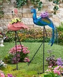 metal bird planters peacock flamingo outdoor garden yard decor