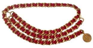 red chain necklace images Chanel red vintage leather gold plated chain link belt tradesy jpg