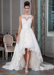 stunning lace high low wedding gown ideas for brides