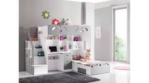 lit mezzanine enfant bureau lit mezzanine sacha pour les enfants coloris blanc et gris avec un