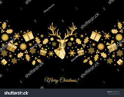 Gold Reindeer Christmas Tree Decorations by Christmas Pattern Golden Tree Decoration Happy Stock Vector