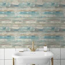 Peal And Stick Wall Paper Instant Reinvent Walls Blue Distressed Wood Peel And Stick Wall