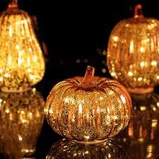 autumn decor glass pumpkins led light with timer for autumn decor orange in