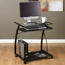 Metal And Glass Computer Desks Remarkable Rectangle Black Iron Mobile Computer Desk Transparent