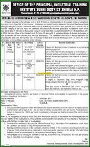 Iti Job Electrician Gsm Iti Sunni Shimla Himachal Pradesh