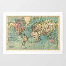 World Map Artwork by Mixed Media Nature And Typography Art Prints Society6
