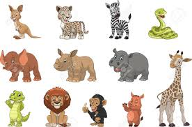 exotic animals vector illustration set of funny exotic animals royalty free