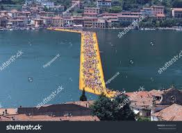 Floating Piers by Floating Piers Christo Project Visitors Walking Stock Photo