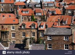rooftops of houses and homes in english town scarborough england