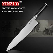 where to buy kitchen knives reviews xinzuo 12 inch butcher knife 3 layer 440c clad steel chef