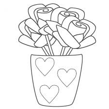 coloring pages mothers day flowers roses in vase with hearts coloring page mother s day regarding