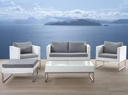 patio conversation set white wicker and gray crema beliani com