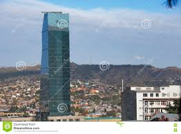 radisson blu hotel on background of urban cityscape of tbilisi