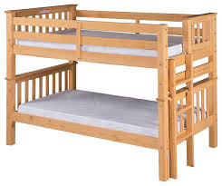 santa fe mission low bunk bed twin over twin bed end ladder