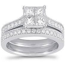 Jareds Wedding Rings by Princess Cut U0026 Round Brilliant 1 50 Ctw Vs2 Clarity I Color