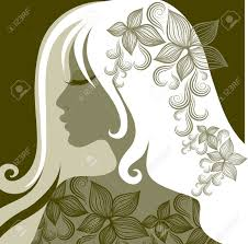 in long hair vector closeup portrait of woman with flower in long hair from