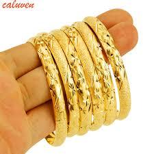 gold bangle bracelet yellow images 8mm 6pcs lot dubai gold bangle jewelry for women men gold color jpg